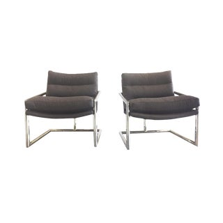 1970s Chrome Lounge Chairs in the Style of Milo Baughman - a Pair For Sale