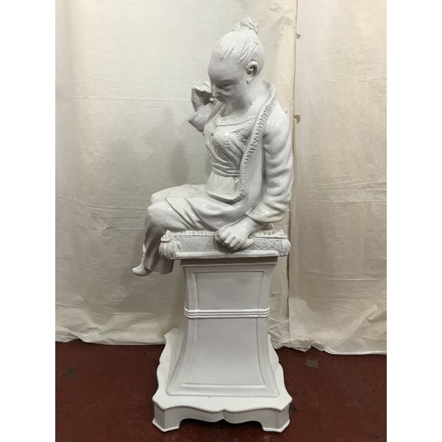 Italian White Glazed Asian Figures a Pair For Sale - Image 4 of 9