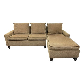 Custom Sutter International Multi-Color Tan Two Piece Sectional For Sale