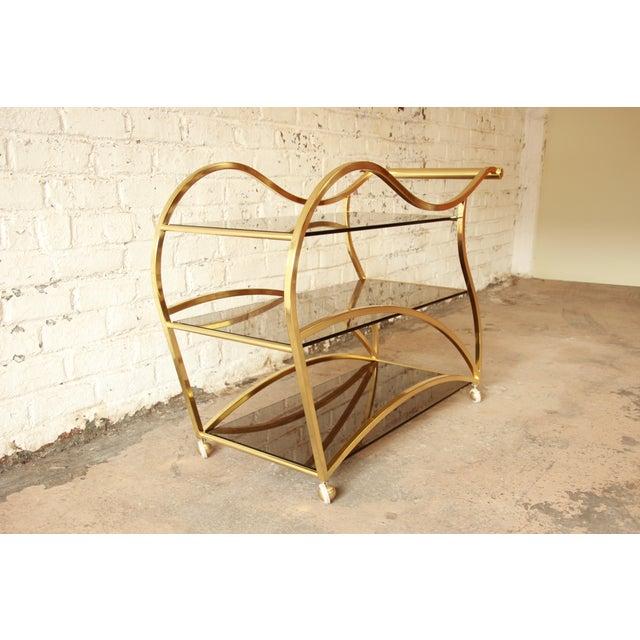 Milo Baughman for DIA Brass and Glass Bar Cart - Image 5 of 11