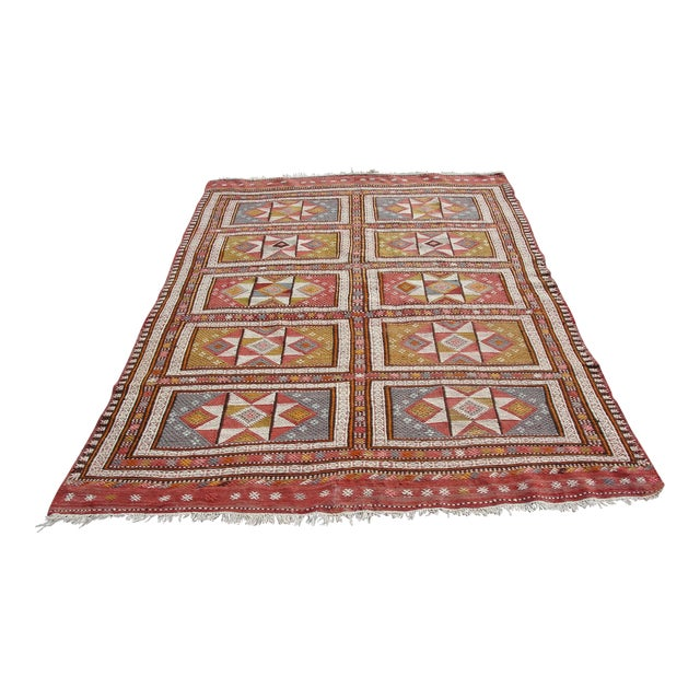 "Vintage Turkish Kilim Rug - 65.5′″ × 97"" For Sale"