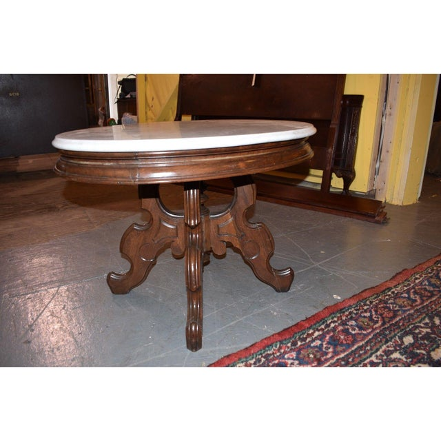 Oval Marble Top Eastlake Style Coffee Table For Sale - Image 4 of 8