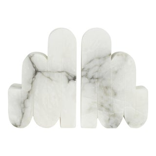Art Deco Inspired Italian Carrera Marble Bookends - a Pair