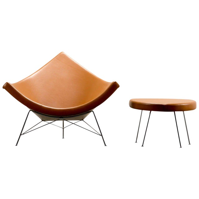 George Nelson for Herman Miller Coconut Chair and Ottoman, Circa 1950's For Sale