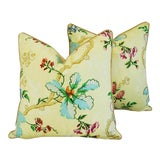"""Image of Brunschwig & Fils Fabriano Feather/Down Pillows 24"""" Square - Pair For Sale"""