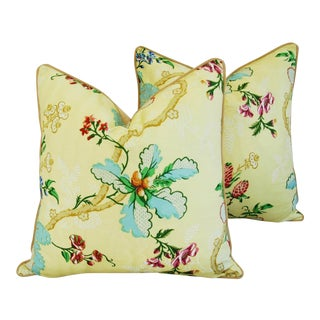 """Brunschwig & Fils Fabriano Feather/Down Pillows 24"""" Square - Pair For Sale"""