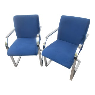 Vintage Contemporary Shells Inc. Upholstered / Chrome Dining Chairs- Set of Two For Sale