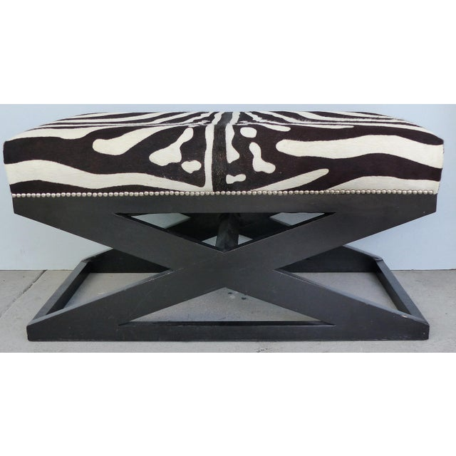 """Barclay Butera Home """"Bel Air"""" Ottoman With Zebra Print Upholstery For Sale - Image 9 of 9"""