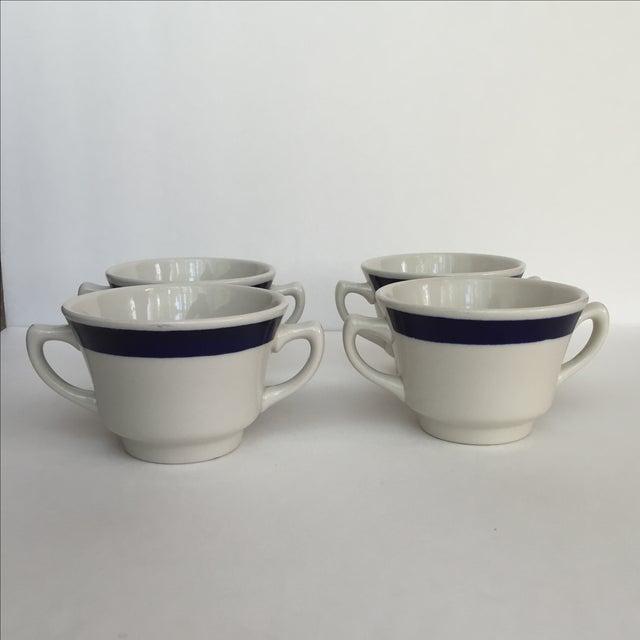 White White & Blue Bouillon Soup Bowls - Set of 4 For Sale - Image 8 of 11