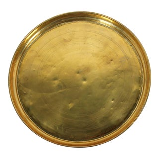 Moroccan Round Antique Brass Tray For Sale