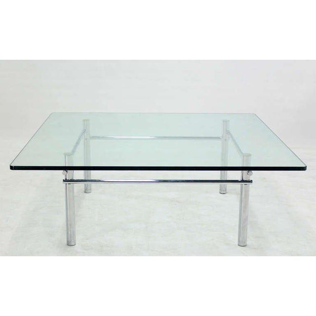 Solid Chrome Base with Heavy Steel Bars and Square Glass-Top Coffee Table For Sale - Image 4 of 10