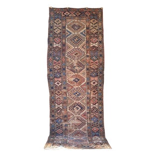 Late 19th Century Antique Kurdish Tribal Runner Rug - 3′7″ × 10′ For Sale