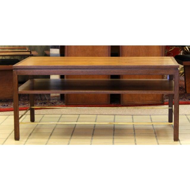 Dunbar Furniture Mid Century Modern Wormley Dunbar Walnut Brass Coffee Occasional Console Table For Sale - Image 4 of 13