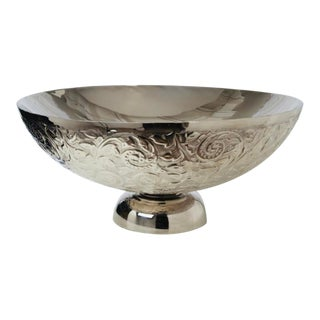 Global Views Transitional Embossed Silver Finished Decorative Bowl For Sale