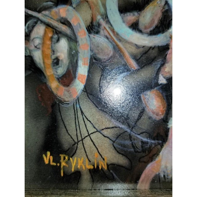 """Late 20th Century Vladimir Ryklin """"Cirque De Soleil 2"""" Oil Painting on Canvas For Sale - Image 5 of 9"""