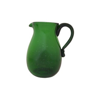 "9-1/4"" Hand Blown Antique Green Thin Glass 85 Oz Beverage Pitcher Reproduction For Sale"