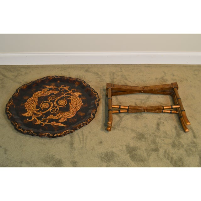 2000s Black & Gold Crackle Painted Finish Pie Crust Tray Top Faux Bamboo Coffee Table For Sale - Image 5 of 13