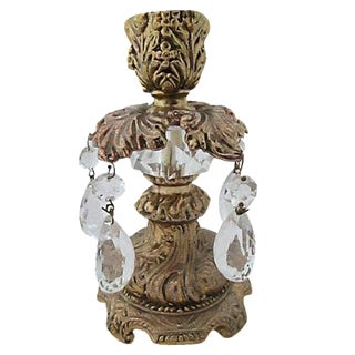 Baroque Style Brass Candleholder For Sale