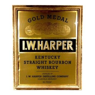 Vintage Gold Medal I.W. Harper Kentucky Bourbon Glass Advertising Sign For Sale