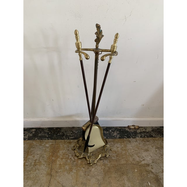 Vintage Brass Fireplace Set For Sale In Los Angeles - Image 6 of 6
