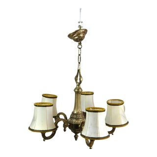 Antique French Bronze Five-Light S-Shaped Chandelier For Sale