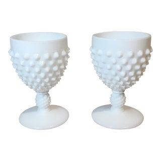 Fenton Hobnail Milk Glass Wine Goblets - a Pair
