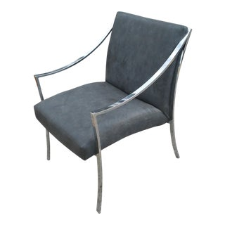Vintage Patrician Mid-Century Chrome and Suede Chair For Sale