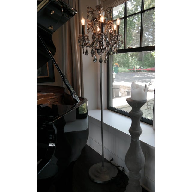 Hollywood Regency Iron & Smoke Crystal Floor Lamp For Sale - Image 3 of 3