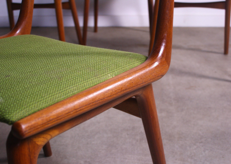 Mid Century Modern Teak Boomerang Dining Chairs By Erik Christensen Set Of  4 For
