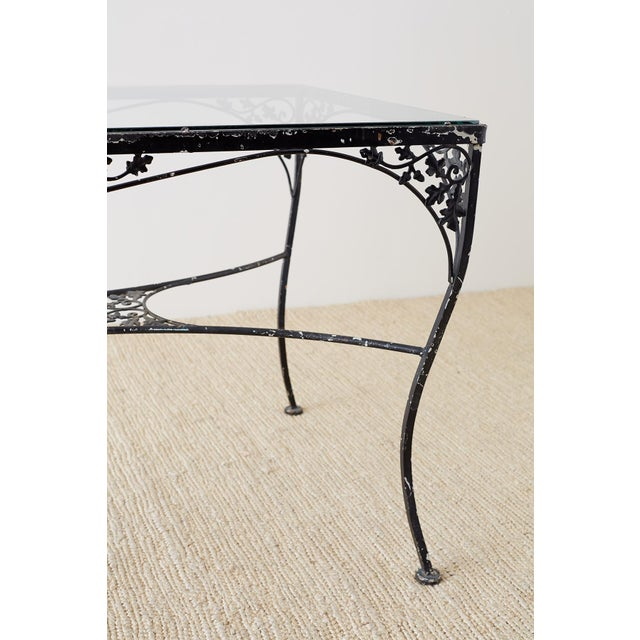 Black Salterini Style Wrought Iron Patio Garden Table For Sale - Image 8 of 13