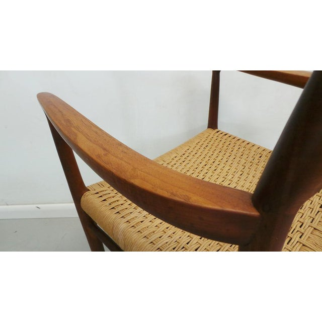 Yellow Mid Century j.l. Moller Danish Modern Teak Framed Rope Seat #56 Arm Dining Chairs by j.l. Moller For Sale - Image 8 of 11