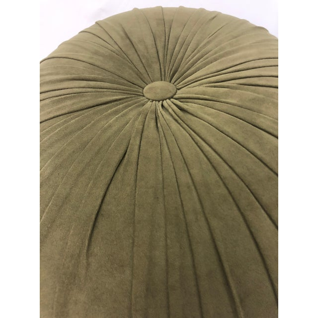 1990s Vintage Schnazzy Oval Ultrasuede Ottoman Pouf For Sale - Image 4 of 8