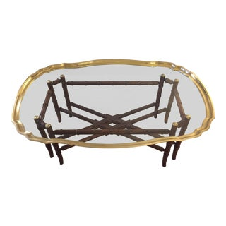 Hollywood Regency Glass & Brass Oval Coffee Table