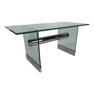 Chrome and Glass Dining Table / Writing Desk by Pace For Sale