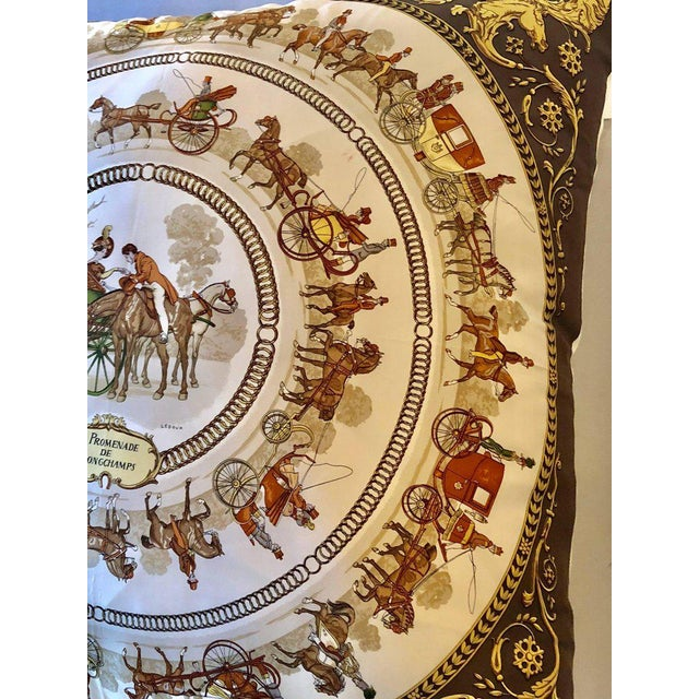Enormous Hermes 'La Promenade De Longchamps' Overstuffed Silk Pillow For Sale In New York - Image 6 of 12
