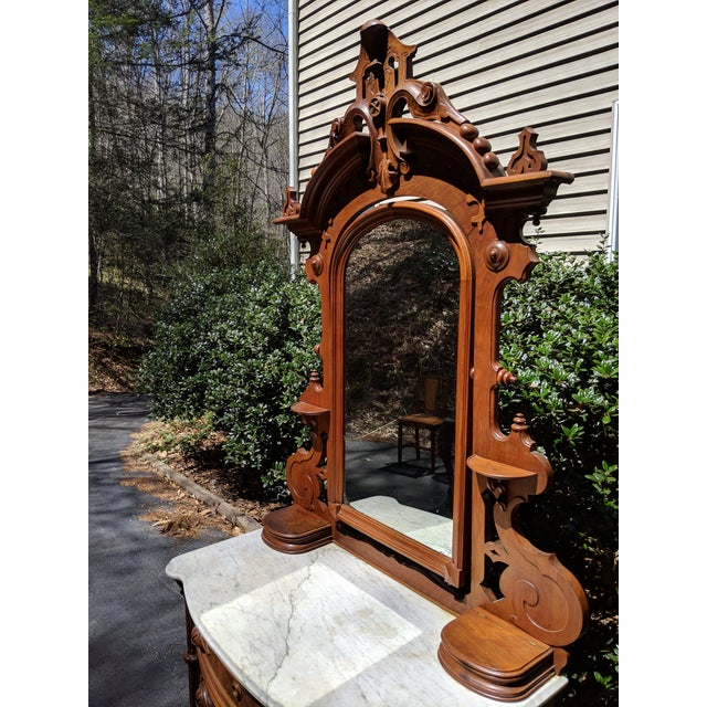 20th Century Renaissance Revival 3-Drawer Marble Top Walnut Dresser & Vanity Mirror For Sale - Image 6 of 13