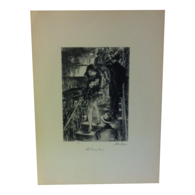 """1939 Simon & Schuster Famous American Print, """"Subway Stairs"""" by John Sloan For Sale"""
