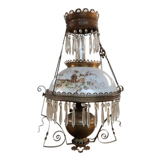 C. 1890 American Victorian Bradley & Hubbard Brass/Opaline Glass Electrified Hanging Oil Lamp For Sale