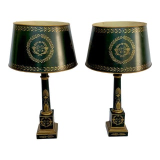 Empire Style Tole Lamps - a Pair For Sale