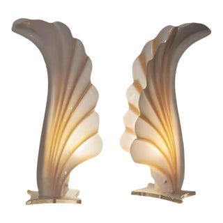 Vintage Mid-Century Modern Rougier Acrylic Feather Lamps - a Pair For Sale