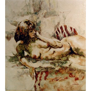 """""""Nude On Zebra Rug"""" Oil On Canvas Painting For Sale"""