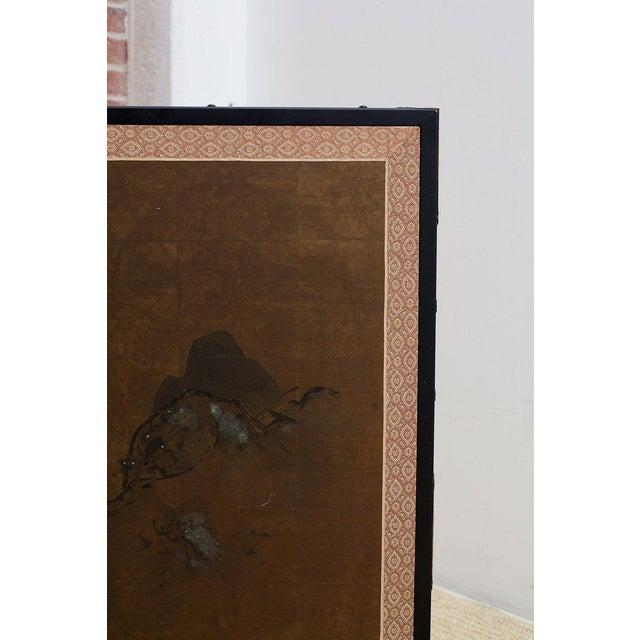 Gold Japanese Four Panel Landscape Byobu Screen For Sale - Image 8 of 13