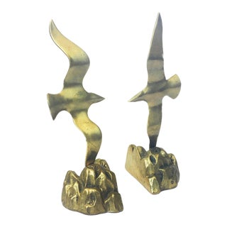 Vintage Brass Seagull Bookends - a Pair
