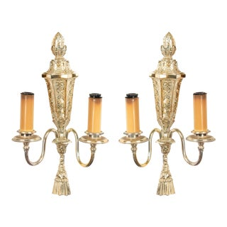 English Georgian Silver Plate Wall Sconces For Sale