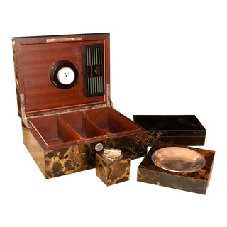 1960's Lacquered Goat Skin 4 Piece Set Accessory Box, Lighter and Cigar Dish For Sale