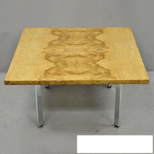 Milo Baughman Mid Century Modern Burl & Chrome Burlwood Square Coffee Table For Sale - Image 10 of 10