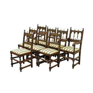 1930s Vintage Carved Oak Wood Jacobean Gothic Style Dining Room Chairs- Set of 8 For Sale