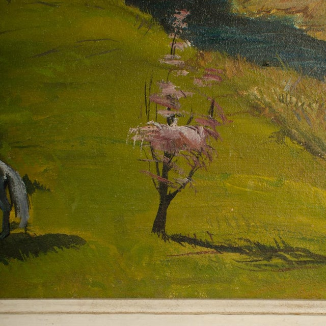 """Mid 20th Century """"Peach Orchard in the Valley"""" Landscape Oil Painting by Charles Harsanyi, Framed For Sale In Philadelphia - Image 6 of 13"""