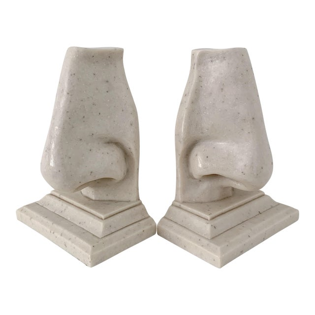Vintage Oversized Nose Faux Marble Bookends - a Pair For Sale