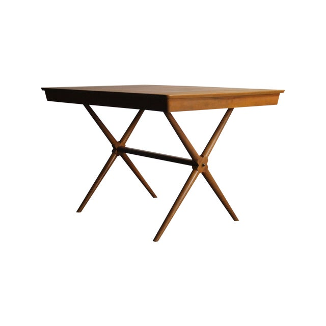 Walnut Dining Table X Base, Manner of Widdicomb For Sale